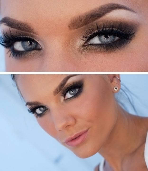 Вечерние макияжи фото для голубых глаз фото